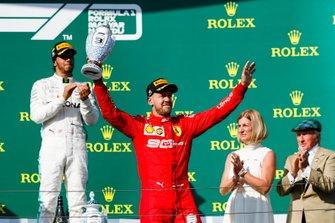 Sebastian Vettel, Ferrari, 3rd position, with his trophy