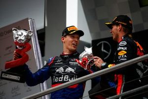 Daniil Kvyat, Toro Rosso, 3rd position, on the podium with Max Verstappen, Red Bull Racing, 1st position