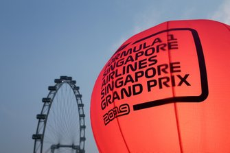 Race signage and the Singapore Flyer