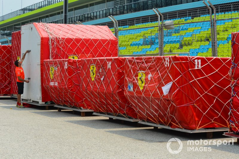 Freight belonging to Ferrari on the pit straight