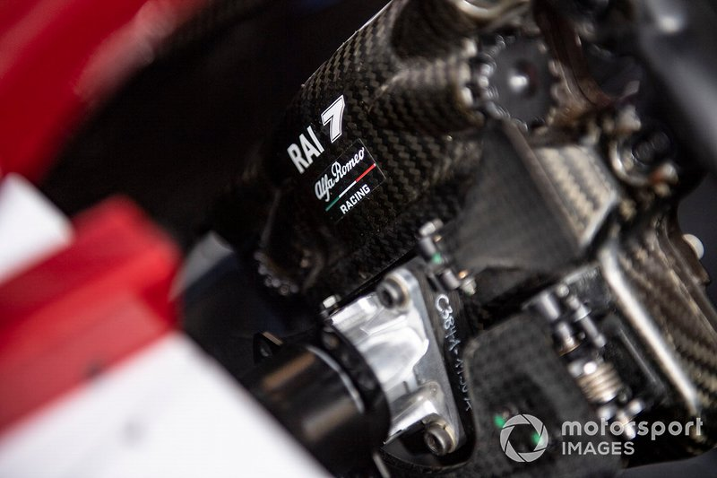 Back of steering wheel of Kimi Raikkonen, Alfa Romeo Racing C38
