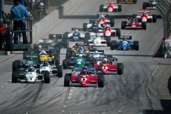 Patrick Tambay, Ferrari 126C2B, leads from Keke Rosberg, Williams FW08C Ford, Jacques Laffite, Williams FW08C Ford and René Arnoux, Ferrari 126C2B, at the start