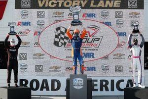 Race 1 Podium: Will Power, Team Penske Chevrolet, Race Winner Scott Dixon, Chip Ganassi Racing Honda, Alex Palou, Dale Coyne Racing with Team Goh Honda