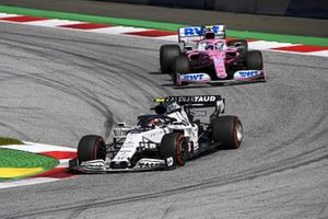 Pierre Gasly, AlphaTauri AT01, leads Lance Stroll, Racing Point RP20
