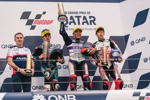 Podium: Race winner Albert Arenas, Aspar Team, second place John McPhee, SIC Racing Team, third place Ai Ogura, Honda Team Asia
