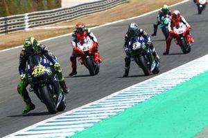 Valentino Rossi, Yamaha Factory Racing, Maverick Vinales, Yamaha Factory Racing, Francesco Bagnaia, Pramac Racing, Jack Miller, Pramac Racing