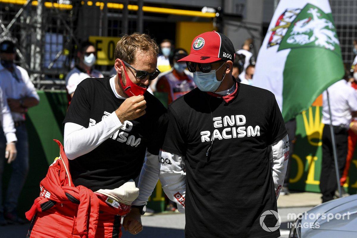 Sebastian Vettel, Ferrari en Kimi Raikkonen, Alfa Romeo