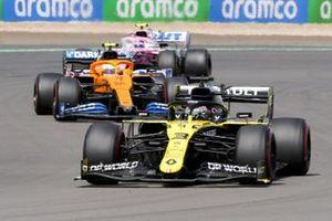 Daniel Ricciardo, Renault F1 Team R.S.20, Lando Norris, McLaren MCL35 and Lance Stroll, Racing Point RP20