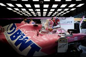 Sergio Perez, Racing Point, settles into his seat