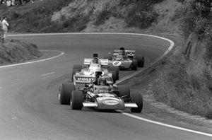 Carlos Pace, March 711 Ford leads Andrea de Adamich, Surtees TS9B Ford and Patrick Depailler, Tyrrell 004 Ford