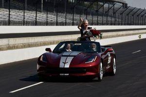 Olivia Johnson 500 Festival Queen rides in Chevrolet Corvette pace car