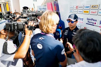 Sergio Perez, Racing Point talks to the media