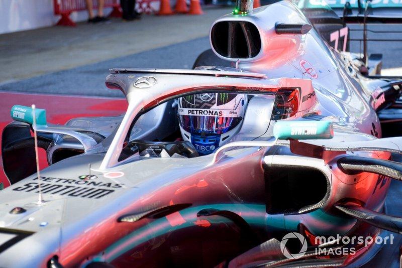 Valtteri Bottas, Mercedes AMG W10 drives into Parc Ferme