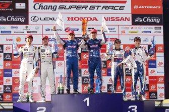 GT500 podium: race winners #6 Lexus Team LeMans Lexus LC500: Kazuya Oshima, Kenta Yamashita, second place #37 Team Tom's Lexus LC500: Ryo Hirakawa, Nick Cassidy, third place #19 Team WedsSport Bandoh Lexus LC500: Yuji Kunimoto, Sho Tsuboi