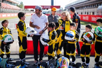 Carlos Sainz Jr., McLaren, Lando Norris, McLaren and Max Verstappen, Red Bull Racing at the RACC Kids karting event
