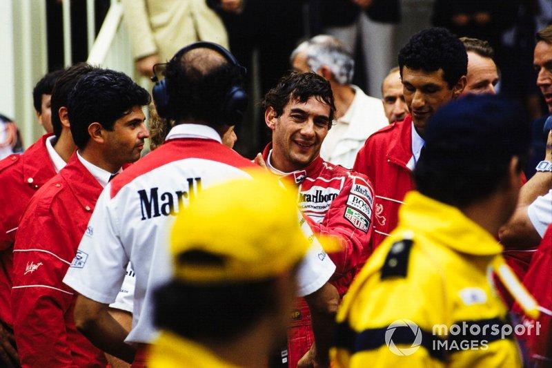 Ayrton Senna fête sa 5e victoire à Monaco