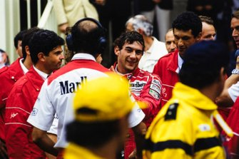 Ayrton Senna celebrates his 5th victory on the streets of Monaco