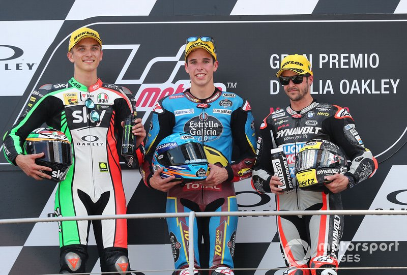 Podium: race winner Alex Marquez, Marc VDS Racing, second place Luca Marini, Sky Racing Team VR46, VD Straten, third place Thomas Luthi, Intact GP