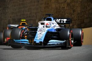 George Russell, Williams Racing FW42, leads Pierre Gasly, Red Bull Racing RB15
