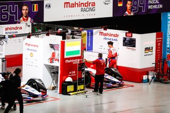 The Mahindra Racing garage in the pit building