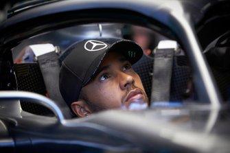 Lewis Hamilton, Mercedes AMG F1 W10 sits in his cockpit