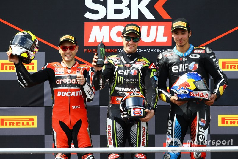 Podium: second place Alvaro Bautista, Aruba.it Racing-Ducati Team, Race winner Jonathan Rea, Kawasaki Racing Team, third place Toprak Razgatlioglu, Turkish Puccetti Racing