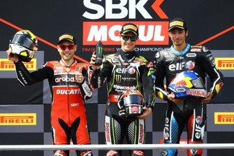 Podyum: 2. Alvaro Bautista, Aruba.it Racing-Ducati Team, yarış galibi Jonathan Rea, Kawasaki Racing Team, 3. Toprak Razgatlioglu, Turkish Puccetti Racing
