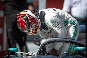 Lewis Hamilton, Mercedes AMG F1, parks up after Qualifying
