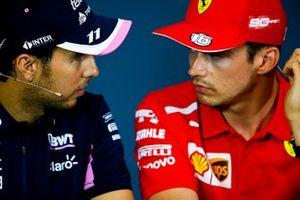 Sergio Perez, Racing Point et Charles Leclerc, Ferrari, en conférence de presse
