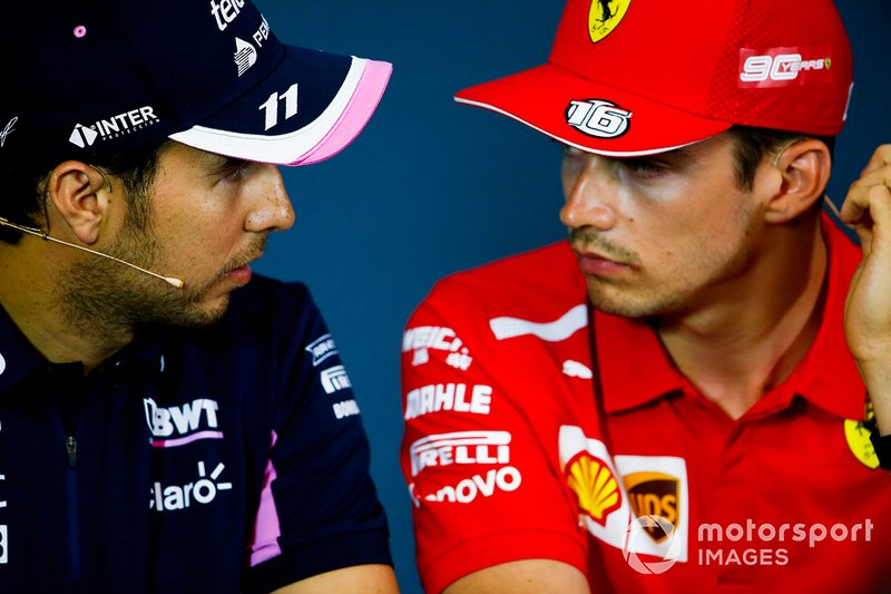 Sergio Perez, Racing Point and Charles Leclerc, Ferrari in the Press Conference