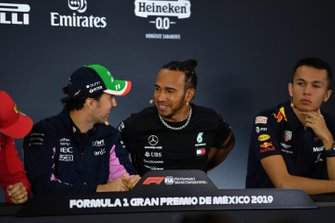 Sergio Perez, Racing Point, Lewis Hamilton, Mercedes AMG F1 and Alex Albon, Red Bull Racing in the Press Conference