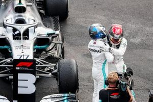 Valtteri Bottas, Mercedes AMG F1 and Race winner Lewis Hamilton, Mercedes AMG F1 celebrate in Parc Ferme
