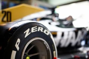 Pirelli tyre detail on the Kevin Magnussen Haas F1 Team VF-19