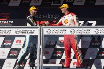 Podium: second place Scott McLaughlin, DJR Team Penske Ford, third place Shane van Gisbergen, Triple Eight Race Engineering Holden