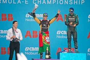 Antonio Felix da Costa, DS Techeetah, 2nd position, celebrates with his trophy on the podium