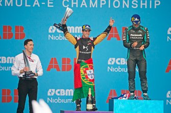 Antonio Felix da Costa, DS Techeetah, 2nd position, celebrates with his trophy on the podium