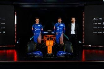 Carlos Sainz Jr., McLaren, Lando Norris, McLaren y Andreas Seidl, director de McLaren
