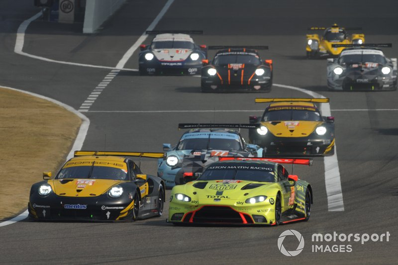 #56 Team Project 1 Porsche 911 RSR: Egidio Perfetti, David Heinemeier Hansson, Matteo Cairoli, #98 Aston Martin Racing Aston Martin Vantage AMR: Paul Dalla Lana, Darren Turner, Ross Gunn
