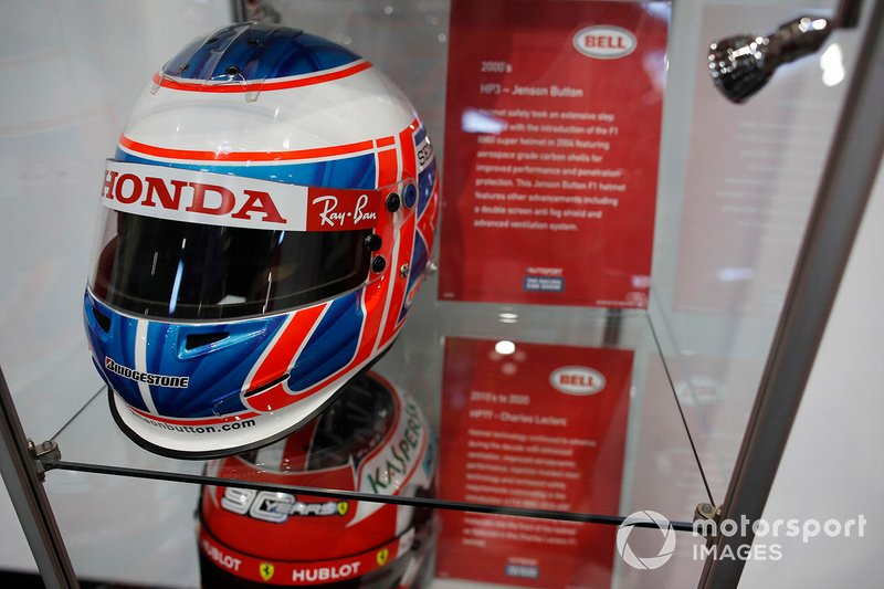 Jenson Button's helmet on display