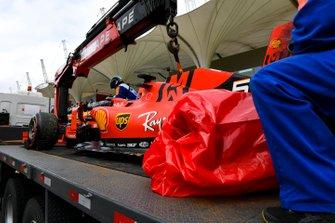 La monoposto incidentata di Sebastian Vettel, Ferrari SF90