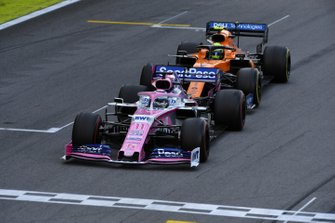 Sergio Perez, Racing Point RP19, leads Lando Norris, McLaren MCL34