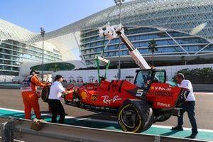 Sebastian Vettel, Ferrari, après son accident