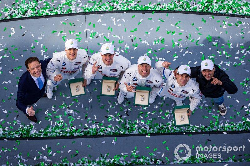 #24 BMW Team RLL BMW M8 GTE: Jesse Krohn, John Edwards, Augusto Farfus, Chaz Mostert celebrate the victory