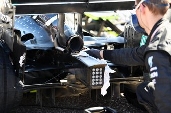 Exhaust, light and diffuser details on the car of Valtteri Bottas, Mercedes AMG W10