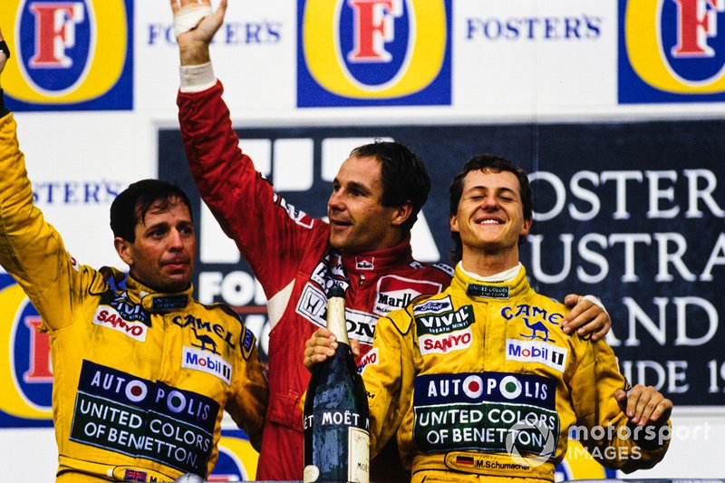 Podium: 1. Gerhard Berger, 2. Michael Schumacher, 3. Martin Brundle