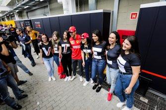 Sebastian Vettel, Ferrari with fans in the paddock