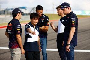 Sergio Perez, Red Bull Racing, Yuki Tsunoda, AlphaTauri, Alex Albon, Reserve Driver, Red Bull Racing, Pierre Gasly, AlphaTauri and Max Verstappen, Red Bull Racing