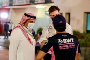 Prince Khalid Bin Sultan Al Faisal, President of the Saudi Arabian Motorsport Federation, Toto Wolff, Executive Director - Business, Mercedes AMG, Sergio Perez, Racing Point