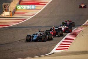 Nikita Mazepin, Hitech Grand Prix leads Felipe Drugovich, MP Motorsport and Robert Shwartzman, Prema Racing
