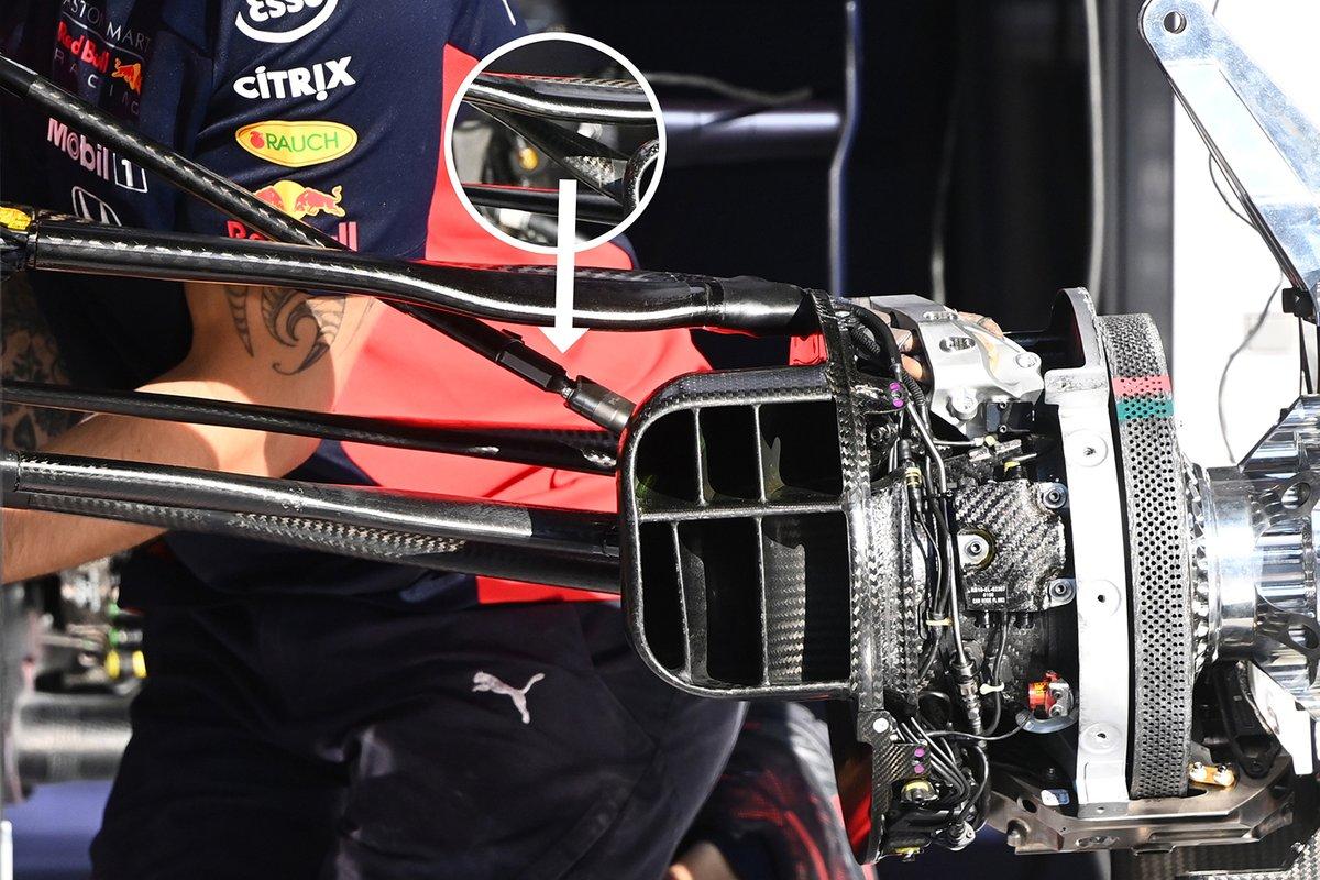 Detalhe da suspensão do RB16 da Red Bull Racing